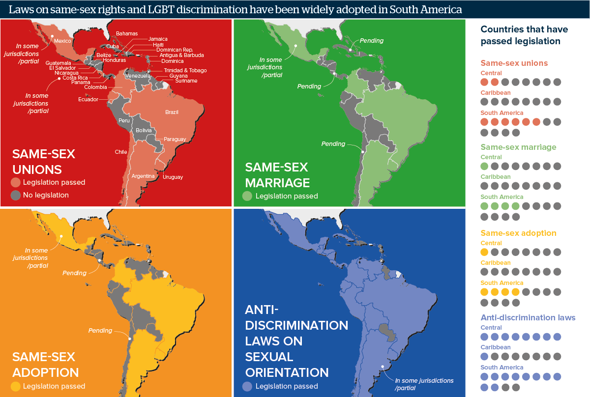 Map Of South America Jamaica.Latin American Lgbt Rights Expand But Face Pushback Oxford