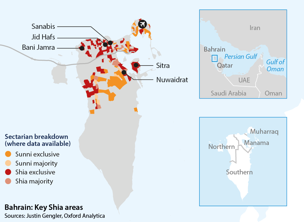 Bahrain: Key Shia areas and sectarian breakdown - Oxford ytica ... on map of oman, map of qatar, map saudi arabia, map of western sahara, map of western europe, map of kuwait, map of sinai peninsula, map of italy, map of greece, map of persian gulf, map of cote d'ivoire, map of philippines, map of eritrea, map of australia, map of croatia, map of sri lanka, map of middle east, map of mediterranean countries, map of czech republic, map of djibouti,