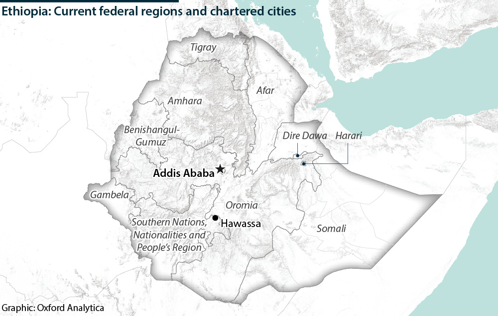 Ethiopia: Current federal states and chartered cities