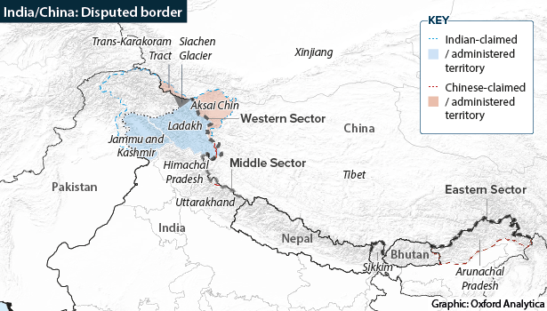 Map showing the western, middle and eastern sectors of the disputed India-China border