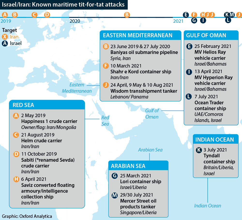 Iran/Israel: Known tit-for-tat maritime attacks, with locations and timeline, 2019-21